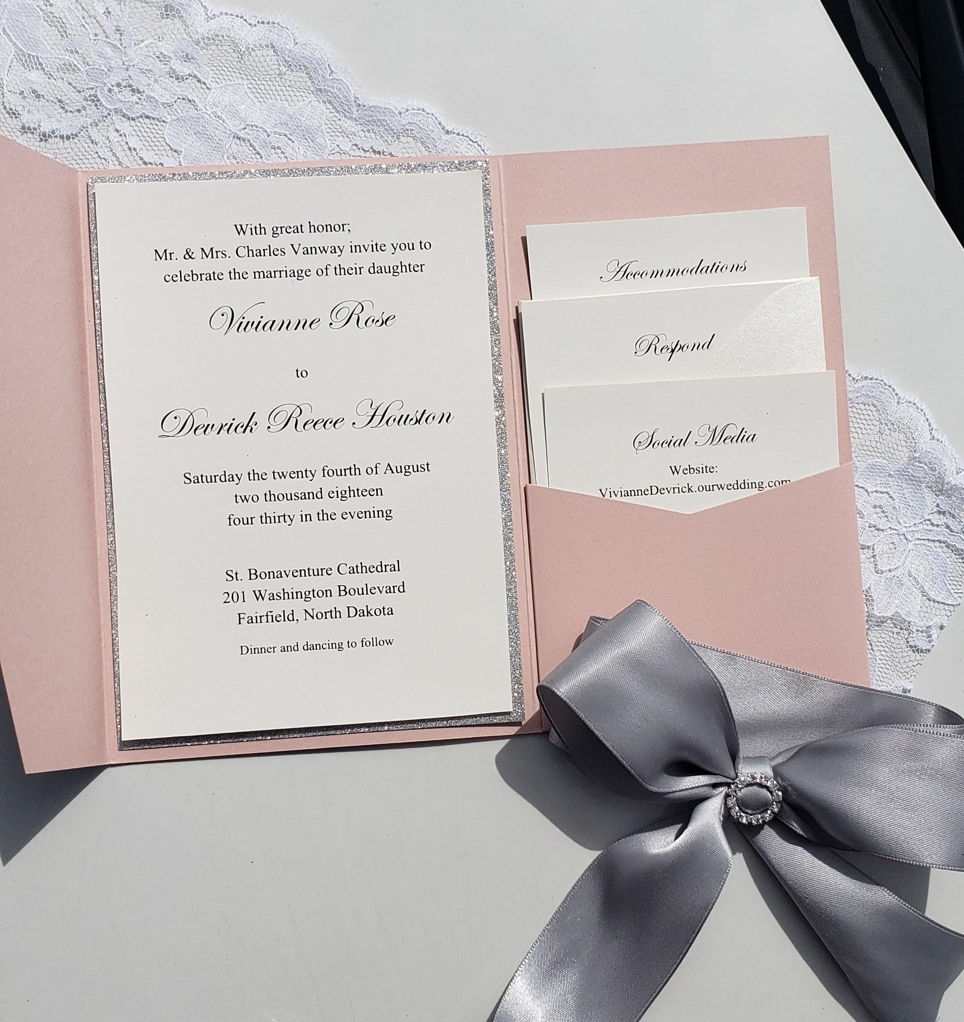 50: Elgant Ivory Silver Bling Wedding Invitations At Reisefeber.org
