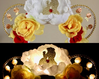 Beauty and the Beast Inspired Belle and Beast Dancing and Enchanted Roses Light Up Silhouette Floral Wire Mickey/Minnie Ears - Disney