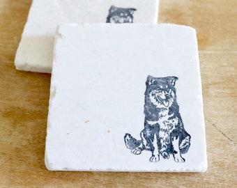 Lapphund Dog Marble Coaster Set/ Lapphund dog gift/ Lapphund marble coasters/ marble coaster set/ stone coasters/ drink coasters