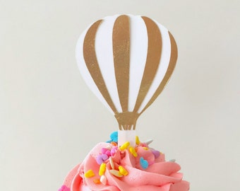 Up Up and away birthday decoration, Hot Air balloon cupcake toppers