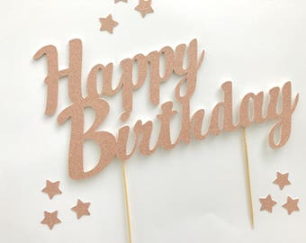 Happy Birthday Cake topper, Glitter Cake topper,  Gold Glitter, Silver Glitter topper, Birthday Party Decor