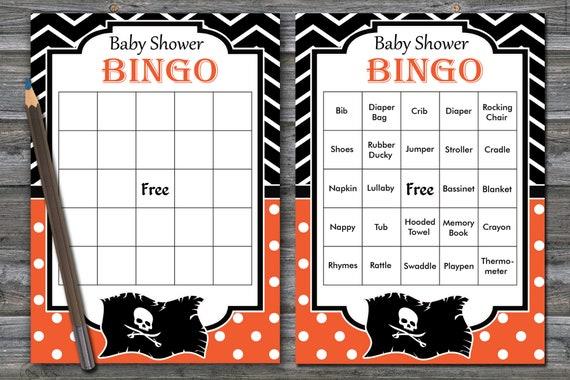 Pirate Baby Shower Bingo 60 Pirate Baby Shower Bingo Cards Baby Shower Bingo Card Printable Blank Bingo Cards Prefilled Cards Bg 061
