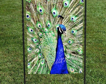 Flag, Peacock, bright blue with beautiful green plumage 12\ Garden Flag Brown Squirrel Welcome to the Nut   Etsy