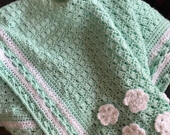 Baby Crochet Blanket Aqua