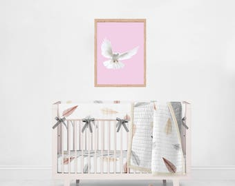 Peace in the nursery, pink, dove, bird, downloadable, wall art, wall print