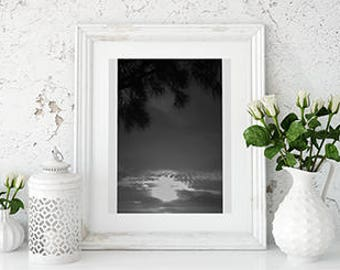 Black & White sunset setting, Download, Wall Print, Sunset over the Bay, Wall art,
