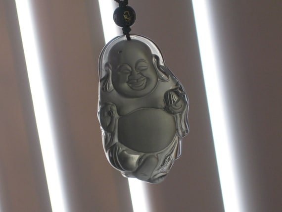 Ice Obsidian Buddha pendant, with adjustable glass bead necklace.