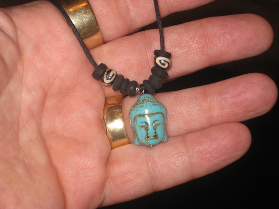 Turquois surfer Buddha  pendant, with adjustable necklace.
