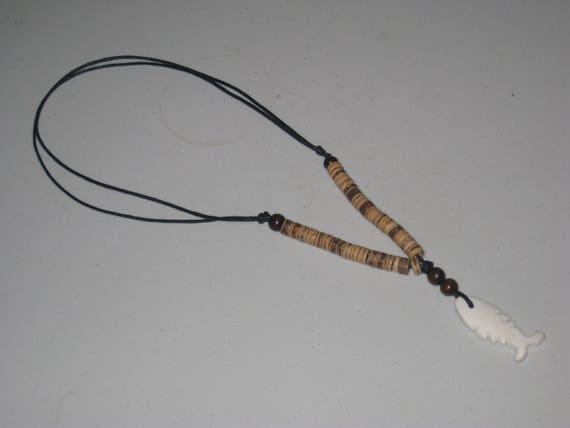 Buffalo bone pendant and heishi wood beads, with adjustable necklace.