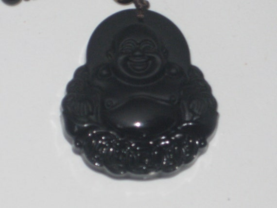 Hand carved black Obsidian Buddha pendant, with glass bead necklace.