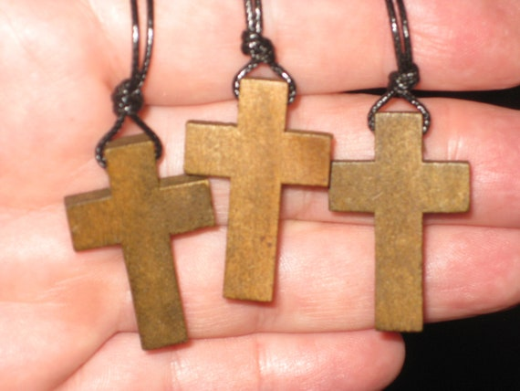 3 Hand carved wood cross pendants, with adjustable necklace.