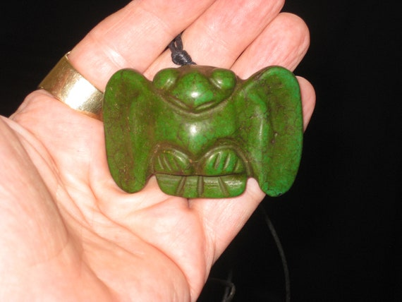 Very old hand carved Jade eagle pendant, with adjustable necklace.