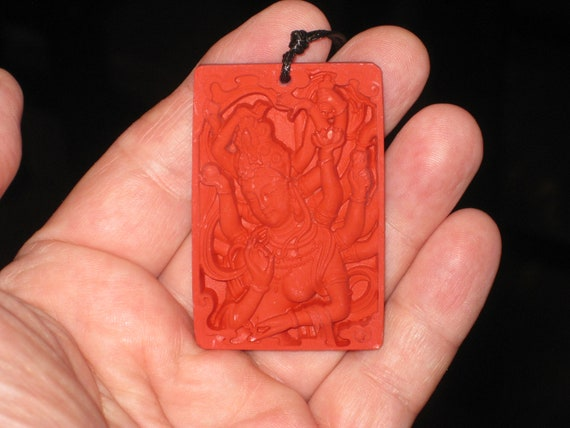 Organic Cinnabar pendant, with adjustable necklace.