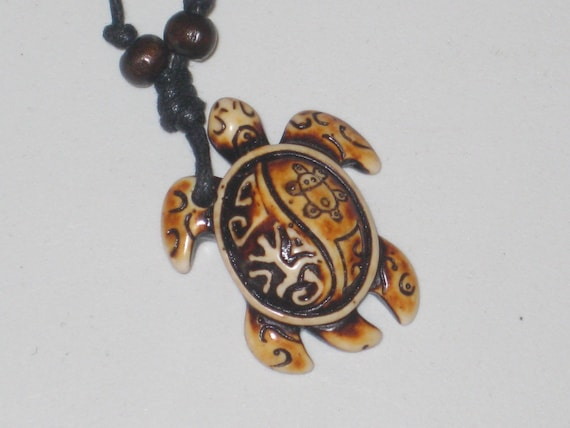 """Surfers tribal sea turtle necklace, adjustable up to 32"""" long."""