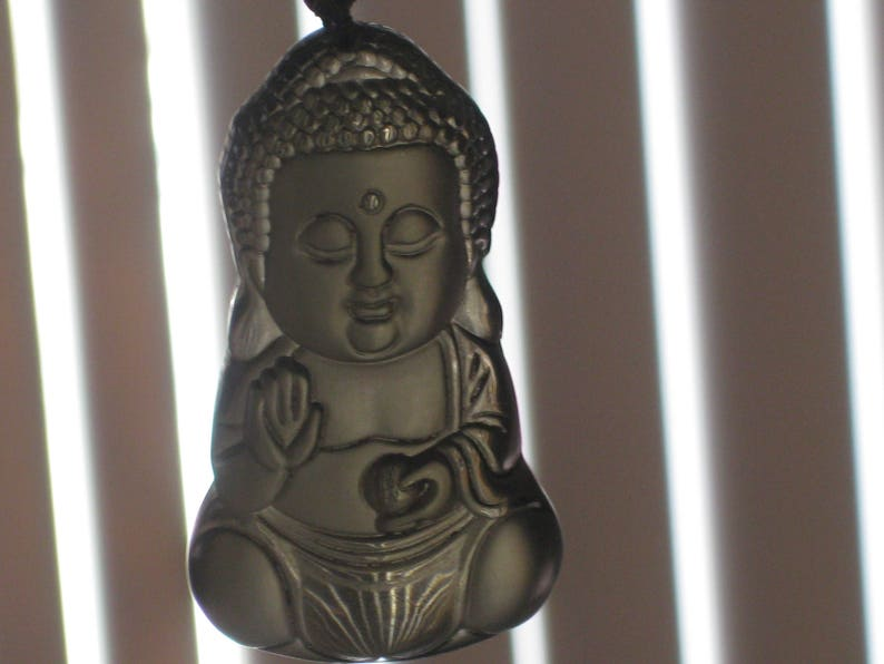 with glass bead necklace. Ice Obsidian Buddha Baby pendant