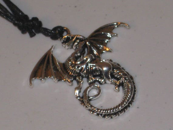 Dragon pendant necklace, hand made.