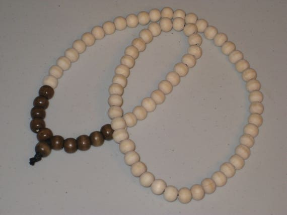Brown & white wood bead surfer necklace, hand made.