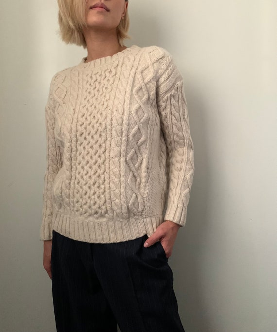 Vintage Hand Knit Beige Cable Knit Sweater XS S