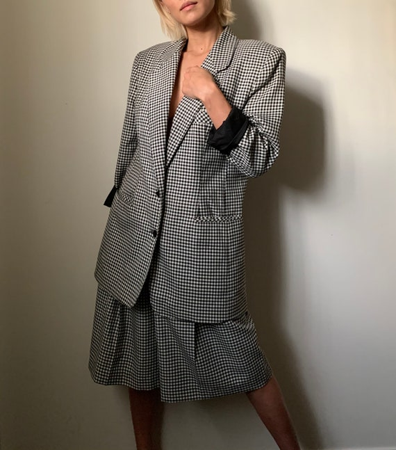 Vintage 90s Classic Checkered Shorts Suit XS S