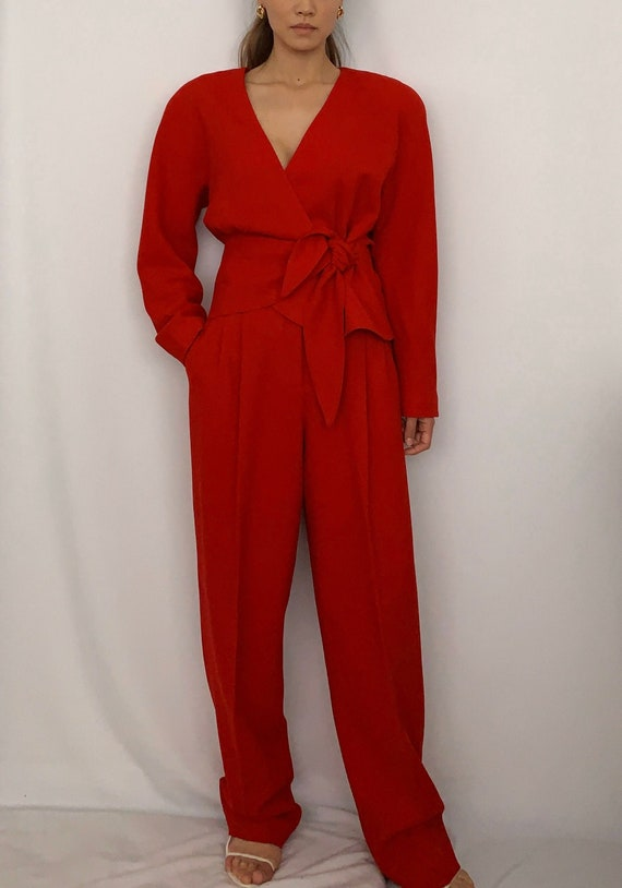 Vintage 80s Red Wool Power Suit XS S