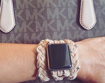 Beige Braided Leather Women's Apple Watch Wrap Band