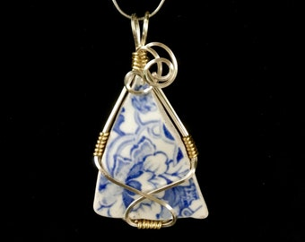 Sea Pottery / Wire Wrapped Jewelry / Pottery Shard Necklace