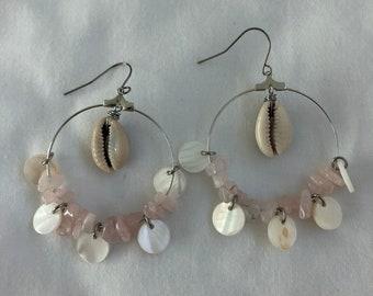 Rose Quartz and Shell Hoop Earrings