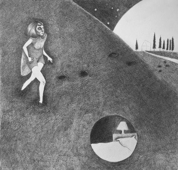 Dittico Di Luna Illustrazione Del Disegno A Matita Etsy