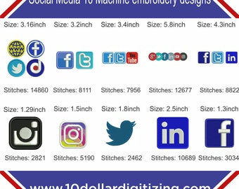 Social media icons embroidery designs, social media logos embroidery designs, facebook logo embroidery design,twitter logo embroidery design