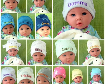 6468476e Custom Baby Hat Embroidered Personalized Threading Infant Beanie Name for  New Born , custom Infant Boy Baby Girl Hat