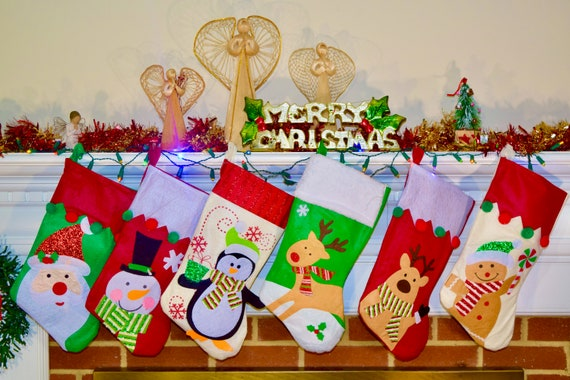 18in Christmas Stocking Personalized Embroidery Cartoon Character  Monogrammed Stockings, Custom Christmas Stockings Children\'s Favorite