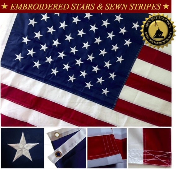 Deluxe 3x5 US USA flag American EMBROIDERED Stars /& Sewn Stripes Double Stitched