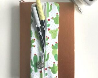 Pen Case, Cactus Case, Zipper Pouch, Zipper Pencil Case, Gift for Her, Birthday Gift, Bullet Journal Supplies