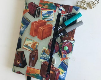 Journal Cover, Book Cover, with Zipper Pouch, Travel Case, Gift for Her, Birthday Gift, Bullet Journal Supplies
