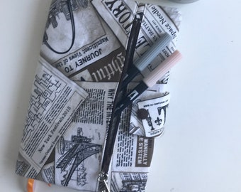Journal Cover, Book Cover, with Zipper Pouch, Newspaper, Gift for Her, Birthday Gift, Bullet Journal Supplies