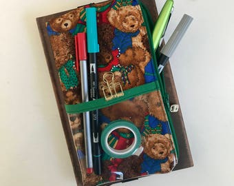 Pen Case, Teddys, Pencil Case, Zipper Pouch, Zipper Pencil Case, Gift for Her, Birthday Gift