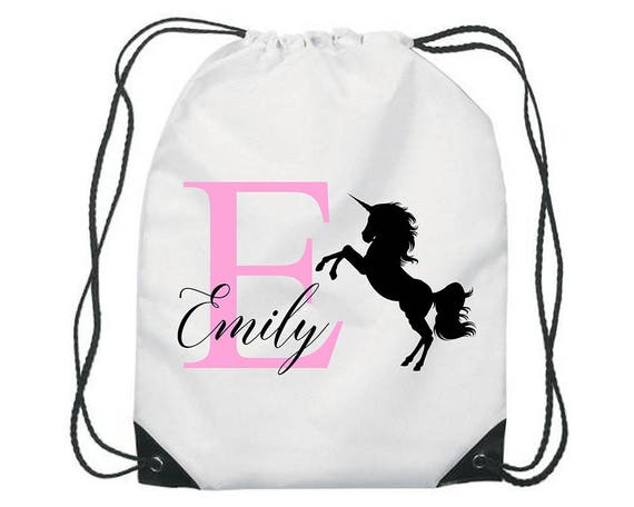 Personalised Unicorn Flower Gym Bag PE Dance Sports School Swim Bag Waterproof