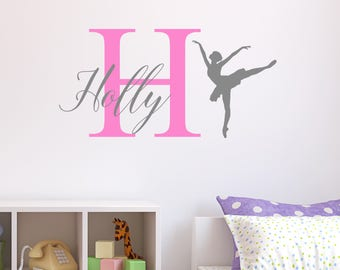 Personalised Ballerina Ballet Wall Sticker Wall Decal Childrens Kids Nursery Bedroom Playroom Vinyl