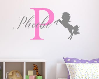 Personalised Horse Wall Sticker Wall Decal Childrens Kids Nursery Bedroom Playroom Vinyl