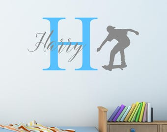 Personalised Skateboarding Wall Sticker Wall Decal Childrens Kids Nursery Bedroom Playroom Vinyl