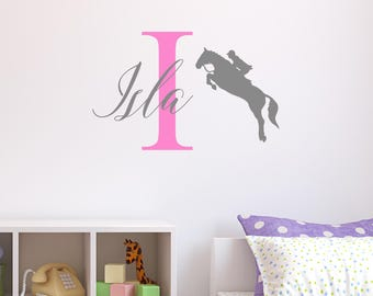 Personalised Horse Riding Wall Sticker Wall Decal Childrens Kids Nursery Bedroom Playroom Vinyl Show Jumping