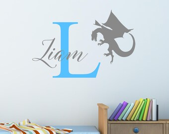 Personalised Dragon Wall Sticker Wall Decal Childrens Kids Nursery Bedroom Playroom Vinyl