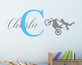 Personalised Moto Cross Wall Sticker Wall Decal Childrens Kids Nursery Bedroom Playroom Vinyl