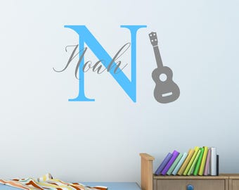 Personalised Guitar Wall Sticker Wall Decal Childrens Kids Nursery Bedroom Playroom Vinyl Music