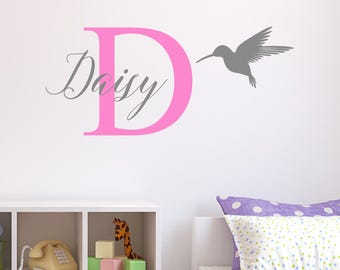 Personalised Hummingbird Wall Sticker Wall Decal Childrens Kids Nursery Bedroom Playroom Vinyl