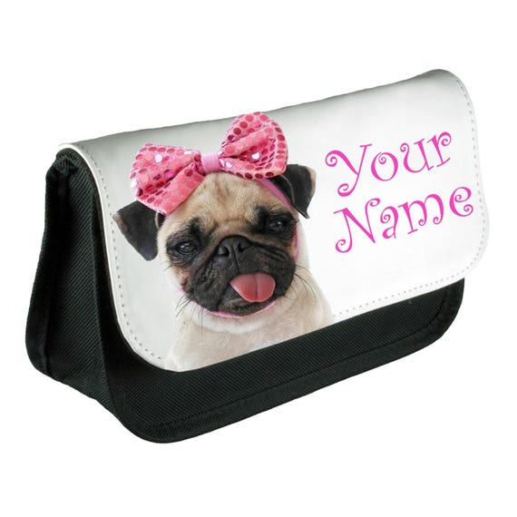 9fbba2821b4a Personalised Girls Pug Bow Pencil Case Make Up Bag School Kids