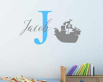 Personalised Pirate Ship Wall Sticker Wall Decal Childrens Kids Nursery Bedroom Playroom Vinyl