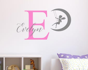 Personalised Fairy Moon Wall Sticker Wall Decal Childrens Kids Nursery Bedroom Playroom Vinyl