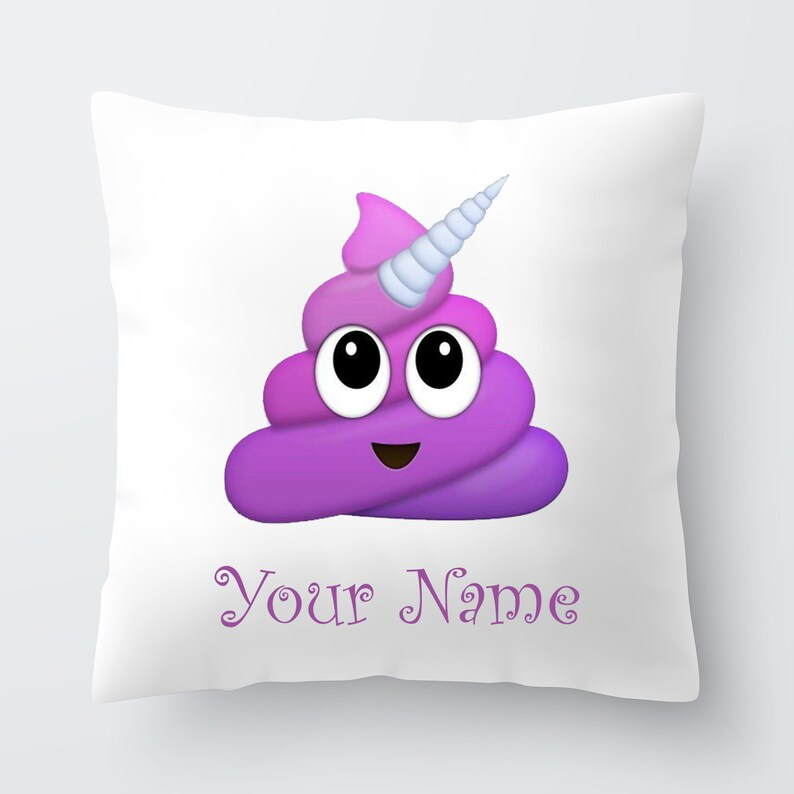Personalised Girls Unicorn Poop Emoji Cushion Pillow Gift Birthday Present  Custom