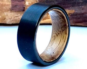 Wooden Engagement Rings Whiskey Barrel Men S Wood Ring Etsy